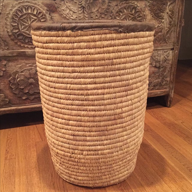 Large French Woven Basket With Leather Rim - Image 4 of 9