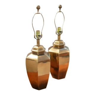 Vintage Asian Brass Ginger Jar Lamps - A Pair