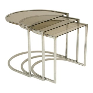 Set of Three Mid-Century Glass and Chrome Nesting Tables by Milo Baughman