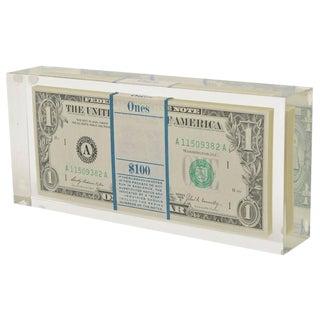Tongue N Cheek Vintage Dollar Bill Allusion Pop Art Lucite Sculpture