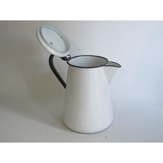 French White & Blue Enamel Coffee Pot - Image 5 of 6