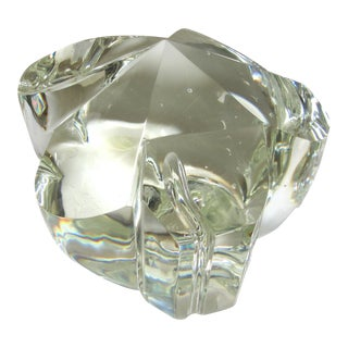 Vintage Abstract Crystal Paperweight Sculpture