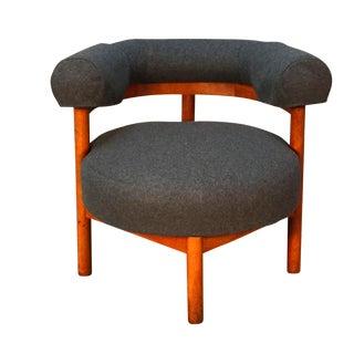 Mid-Century Teak & Gray Wool Corner Chair