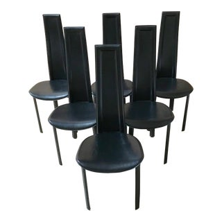 Set of 6 Italian Leather High Back Dining Chairs