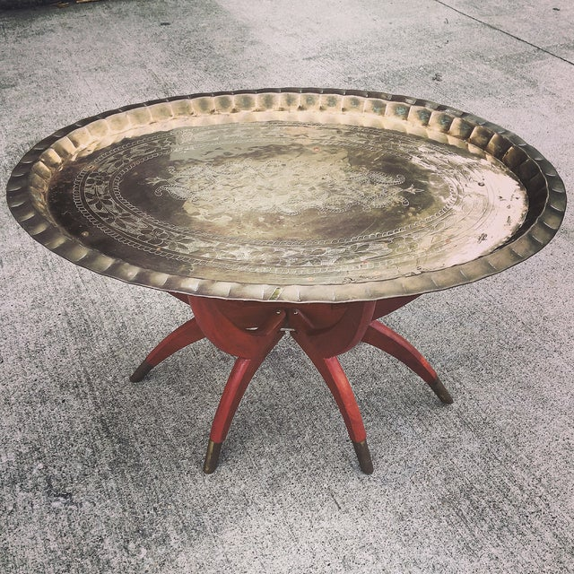 Image of Mid Century Brass Serving Tray Table