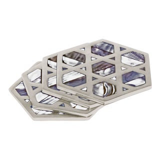 Monroe Mother of Pearl Coasters - Set of 4