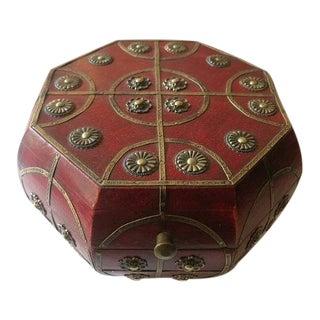 Octagonal Wood & Bronze Jewelry Box
