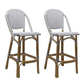 French Bistro Style Bamboo Stools - A Pair