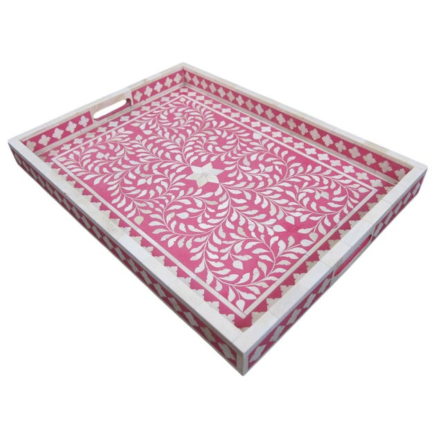 Traditional Bone Inlay Serving Tray - Image 3 of 3