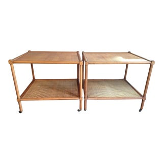 Baker Rolling Cane Tables - A Pair