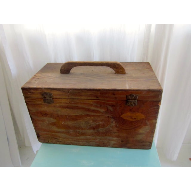 Primitive Rustic Wood Trunk Chest Crate Tool Chest - Image 4 of 11