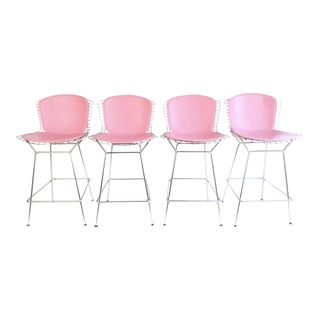 Harry Bertoia Knoll Signed Pink & Chrome Counter Stools - Set of 4