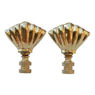 Art Deco Style Solid Brass Shell Finials - a Pair