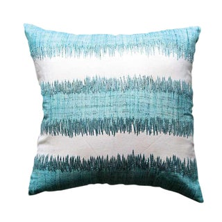 Mid Century Modern Flax Aqua Pillow With Embroidery