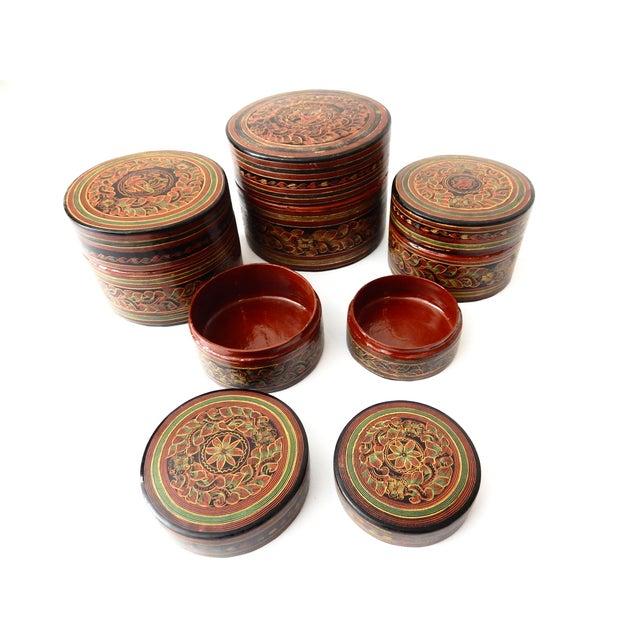 Burmese Lacquerware Betel Nut Boxes - Set of 6 - Image 6 of 8