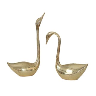 Vintage Large Gold Brass Swan Duck Goose Figurines - A Pair
