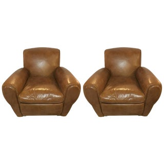 Worn Leather Cabaret Chairs - a Pair