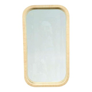 Radius Corner Grass Cloth Wrapped Frame Mirror