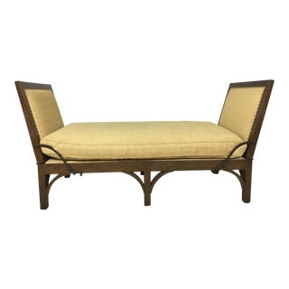 Rustic French Style Walnut & Linen Daybed