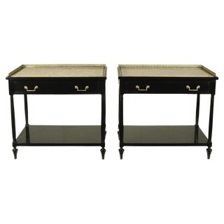 Beacon Hill Regency Black Lacquer End Tables - A Pair