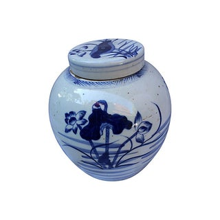 Blue & White Hand-Painted Ginger Jar W/ Lotus