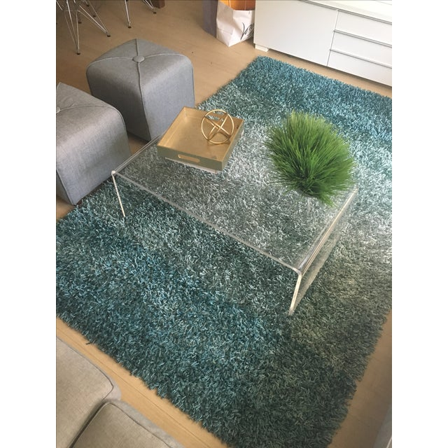 Metallics Shades Shag Teal Area Rug - 5' X 7'6""