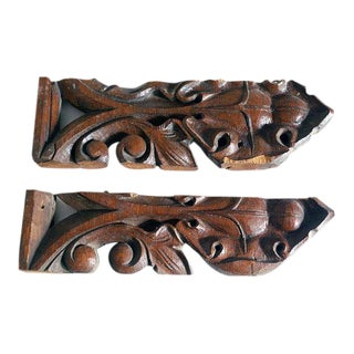 Carved Wood Architectural Salvage Pieces - a Pair