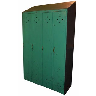 4-Bank Green-Painted Gym Lockers