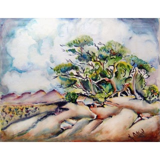 Windswept Landscape Watercolor Painting