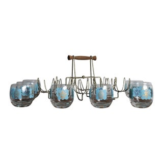 Mid-Century Turquoise Hi-Ball Glasses & Caddy