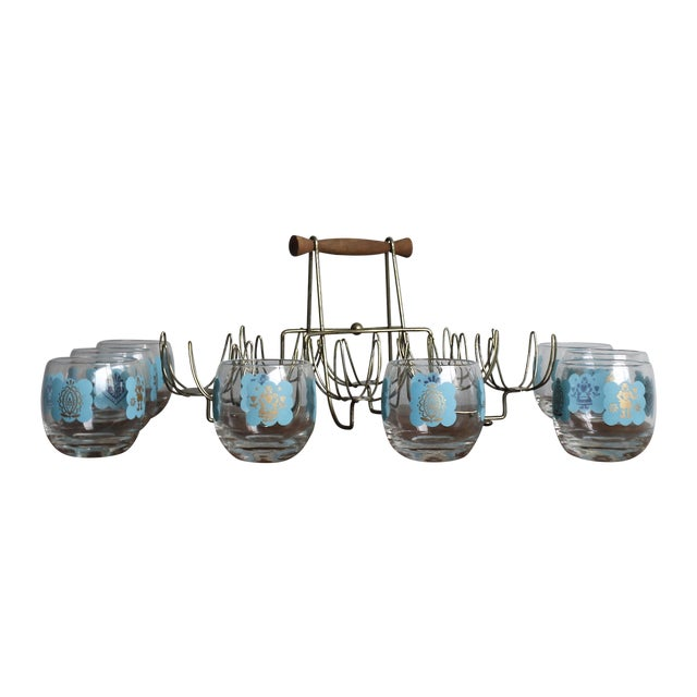 Image of Mid-Century Turquoise Hi-Ball Glasses & Caddy