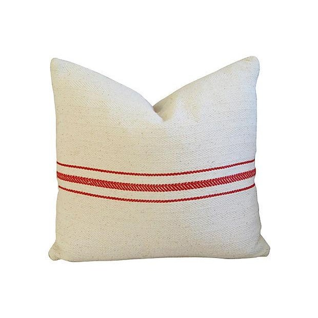 Custom French Red Striped Textile Pillows - A Pair - Image 4 of 6