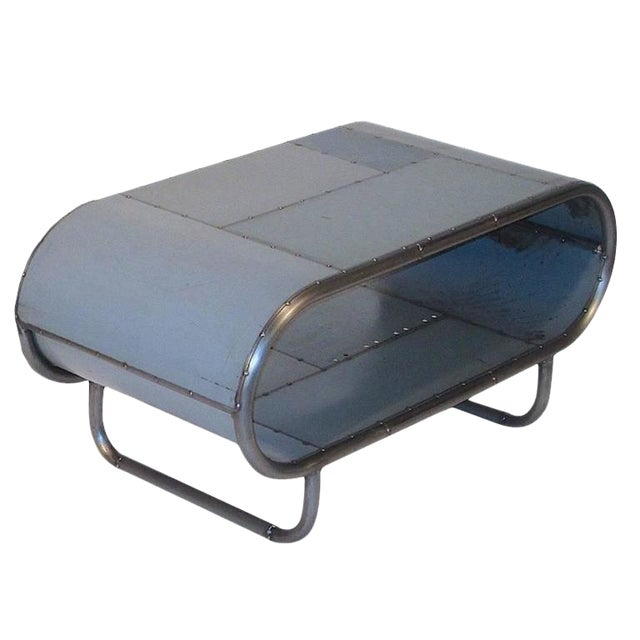 Reclaimed Steel Vintage Industrial Gray End Table - Image 1 of 2
