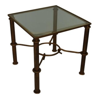 Faux Bamboo Gilded Metal End Table