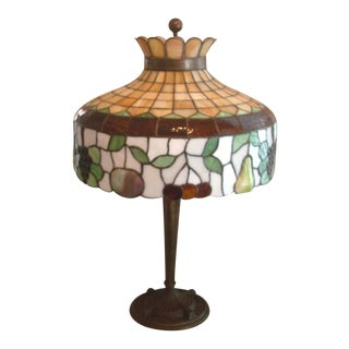 Early 1900's Williamson Leaded Glass Table Lamp