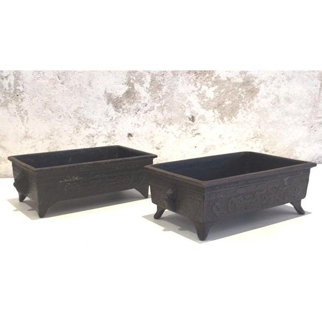 Image of Asian Iron Planters - Pair