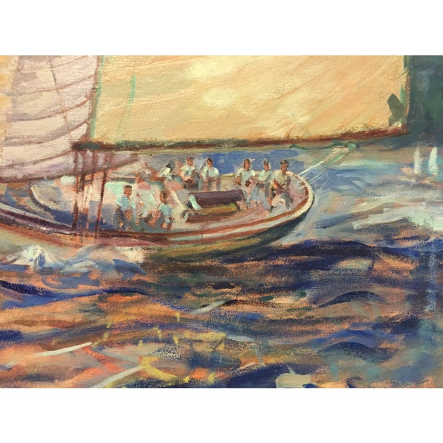 Image of Large Painting - Sailboats on Choppy Seas