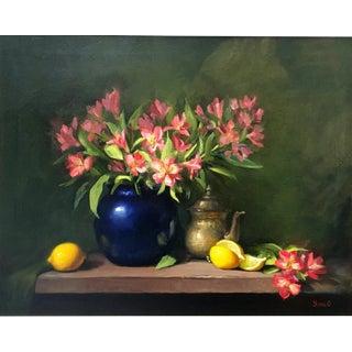 Alstroemeria, Lemons & Silver Teapot Oil Painting