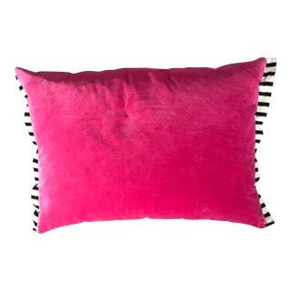Velvet 2-Sided Magenta & Smokey Gray Pillow
