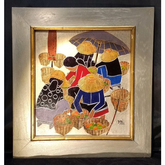 1970 Asian Signed WoodEtched Framed Wall Art - Image 2 of 5