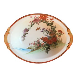 1930s Hand Painted Asian Serving Bowl