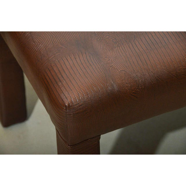 Image of Brown Faux Snakeskin Parsons Bench