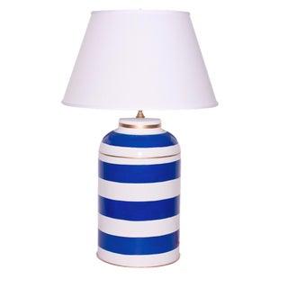 Dana Gibson Navy Striped Tea Caddy Table Lamp