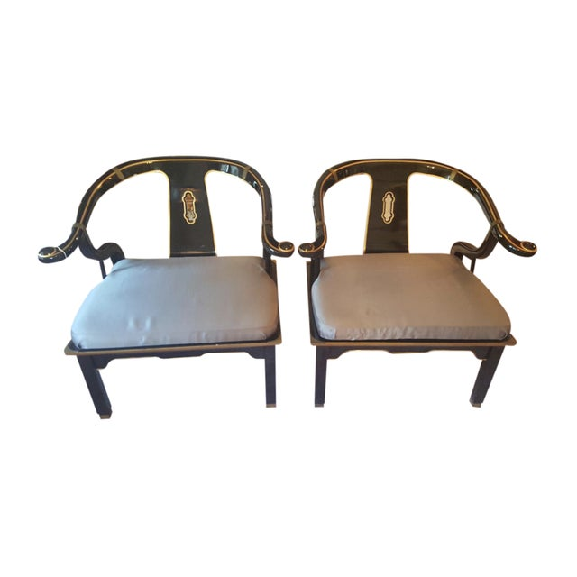 Image of James Mont Horseshoe Chairs - A Pair