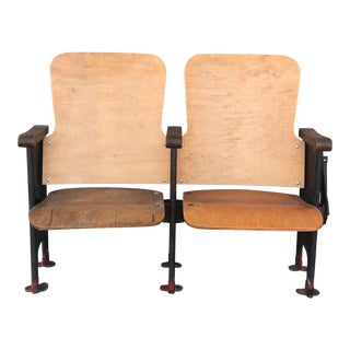 Antique Cast Metal & Wood Movie Theater Seats