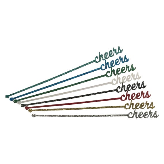 Image of Blue Glitter Cheers Drink Stirrers - Set of 6