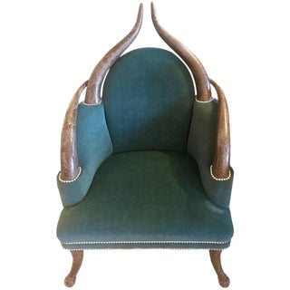 Striking Faux Horn & Teal Velvet Armchair