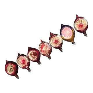 50's Sphere Reflector Christmas Ornaments - Set of 7