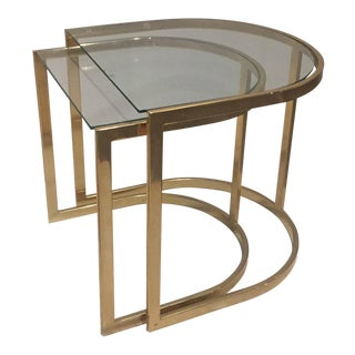 Milo Baughman Style Brass Nesting Side Tables - A Pair