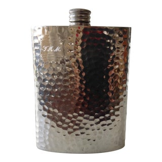 Hammered Silverplate Flask With Engraved Initials